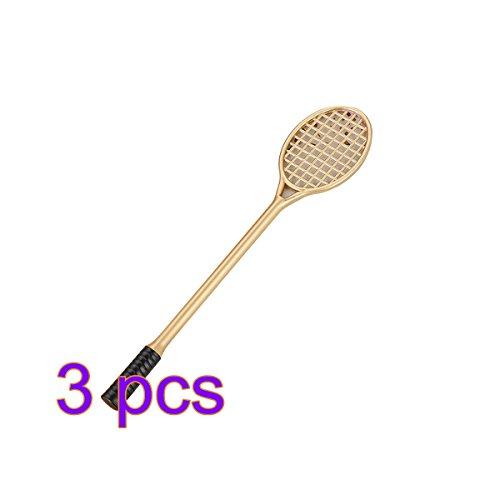 toymytoy 3Einzigartige Tintenroller Liebenswürdig, Tennisschläger Stifte 0,5mm feine Spitze Student Stationery Geschenk Creative Office Supplies (Gold)
