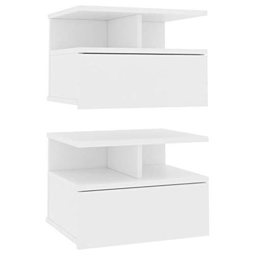 vidaXL 2x Floating Nightstand Home Interior Bedroom Furniture Wall-mounted Bedside Table Cabinet Floating Shelf with Drawer White Chipboard