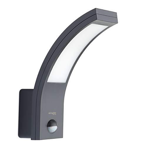 Lumière extérieure LED avec détecteur de mouvement | Rio 10W | Oktaplex Lighting | applique murale extérieure avec capteur 3000K blanc chaud | lampe extérieure de jardin anthracite lp54