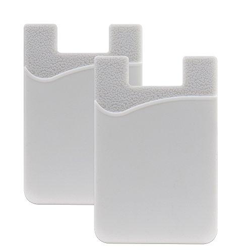 SHANSHUI 2 Piezas Tarjetero Adhesivo Bolsillo para Tarjetas,para Todo Tipo de Móviles con Cinta Adhesiva de,Cartera y Soporte para Auriculares con Función de portadocumentos(Blanco)