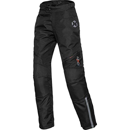 DXR Motorradhose Damen Tour Textilhose 5.0, Motorradhose Damen, wasserdicht, Winddicht, atmungsaktiv, Thermofutter, weitenverstellbarer Bund, Schwarz, L