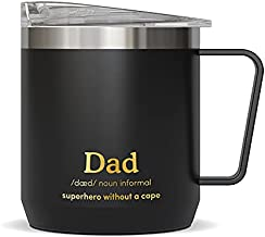 VAHDAM, Gift for DAD - Superhero without a Cape | Stainless Steel Tea/Coffee Dad Mug Tumbler with Handle (300ml/ 10.1oz) - Vacuum Insulated Travel Tumbler Cup | Dad Gifts from Daughter & Son
