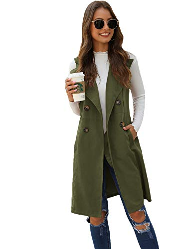 SheIn Women's Double Breasted Long Vest Jacket Casual Sleeveless Pocket Outerwear Longline Army Green Small