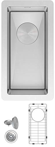 """ZUHNE Undermount Wet Bar Narrow Trough Compact Sink, Grid, Drain Strainer 16-Gauge Stainless (10"""" by 18"""")"""