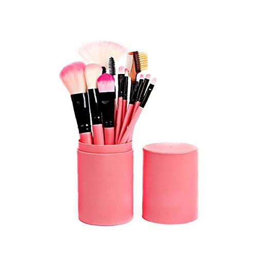 Kacniohen 12pcs Pincel De Maquillaje con Estuche De Cosméticos Profesionales Cepillo De La Fundación del Polvo, Sombra De Ojos, Delineador De Ojos, Maquillaje De Labios De Color Rosa-Brush