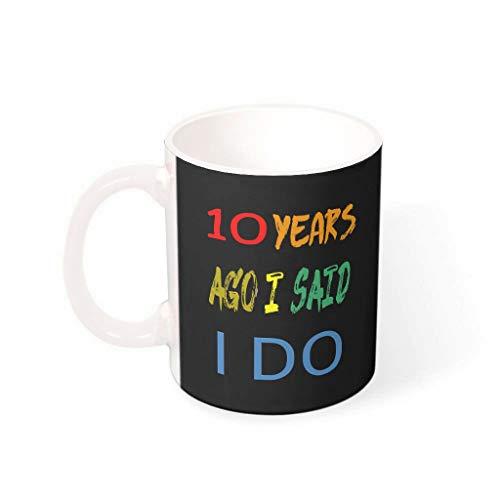 Taza de café de 10 años de aniversario de boda con mango de cerámica suave – regalo de humor para mujeres, traje para oficina blanco 330 ml