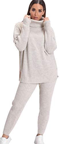 A&H Fashion Conjunto de pantalón Polo de Punto Grueso para Mujer con Cuello Alto y Leggins Negro Piedra 36