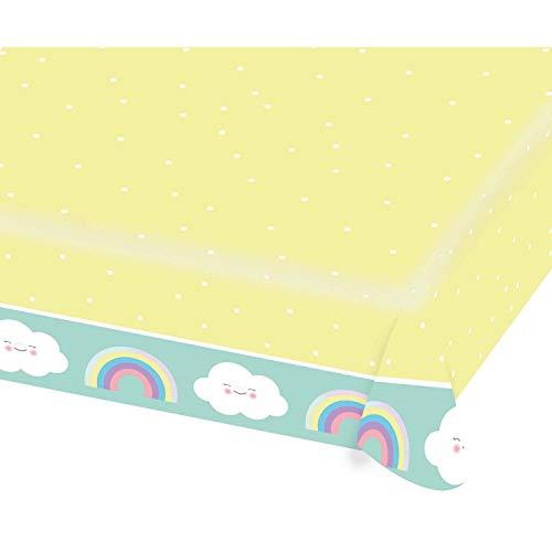 Amscan 9904304 - Papiertischdecke Regenbogen, 1 Stück, Größe 115 x 175 cm, wasserabweisend, 3-lagig, Gelb mit Punkten und mehrfarbigen Motiven, Wolken, Rainbow & Cloud, Geburtstag, Kinderparty