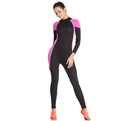 HUOFEIKE 2MM de Longitud Completa Traje de Manga Larga para Las señoras, Protector Solar Surf Traje de Buceo Traje Impermeable Caliente de la motora Snorkel Kayak Surf Windsurf,M