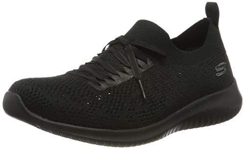 Skechers Damen Ultra Flex Sneaker, Schwarz (Black Mesh/Black Trim BBK), 41 EU