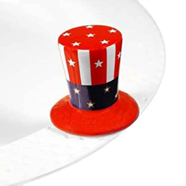 Nora Fleming Uncle Sam's Hat Mini - Home Of The Free - Hand-Painted Ceramic Charm - A53