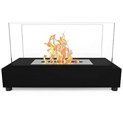 Bio Ethanol Fireplace Indoor Outdoor Camping Glass Top Burner Fire Bari Black Tabletop