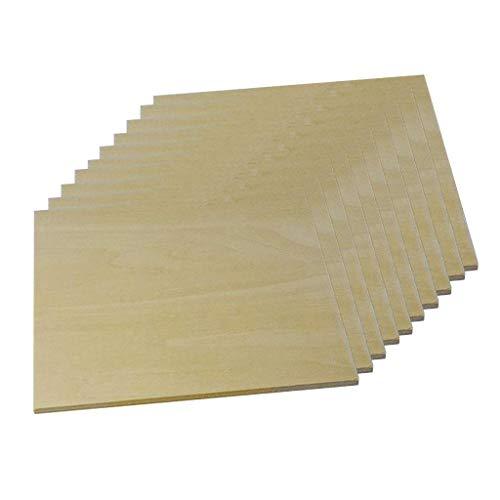 10 piezas de formas cuadradas de madera, madera lisa, espacios en blanco, placa, letrero, piezas sin terminar para bricolaje, pirograbado, artesanía, carpintería, materiales de modelado