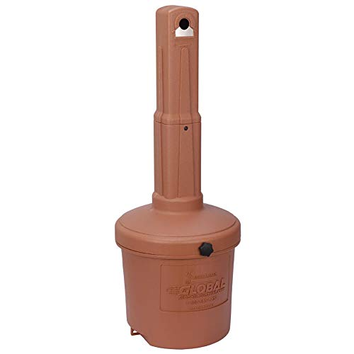 Global Industrial Low Maintenance 5 Gallon Large Capacity Flame Resistant Upright Plastic Outdoor Ashtray, Terracotta