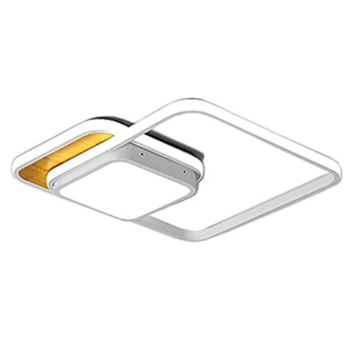Lámpara LED cuadrada de techo, lámpara de techo de metal, 34 W, regulable, diseño creativo y moderno, control remoto, luz blanca, 55 cm