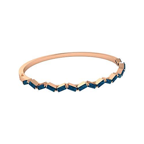 Pulsera de oro de topacio azul Londres, con forma de baguette de 1/4 quilates, piedra natal de diciembre, colección de joyas antiguas, regalos de dama de honor,18K Oro rosa 6 Inches