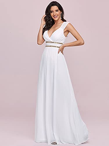 Ever-Pretty A-línea Vestido de Novia Gasa Cuello en V sin Mangas Largo para Mujer Blanco 44