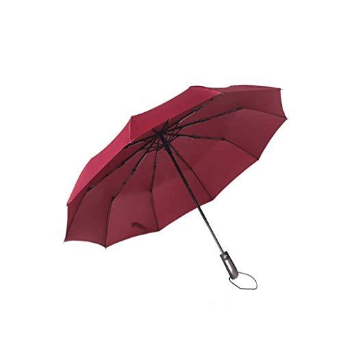 Windproof faltender automatischer Regenschirm-Damen-Auto-Luxus Regen und Regen-Männer Schwarze Regenschirme 10K, Reiseschirm (Color : Red)