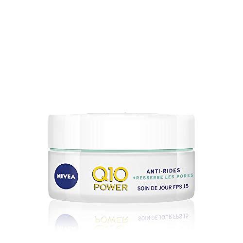 NIVEA Q10 Power Soin de jour Anti-Rides +Resserre les pores FPS 15 (1 x 50 ml), crème anti-âge enrichie en Q10 & créatine, soin visage femme à extrait d algues