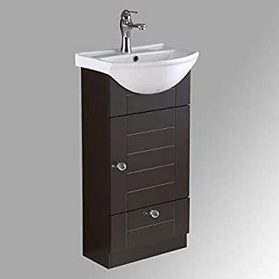 Small Bathroom Cabinet Vanity Sink Dark Oak Faucet And Drain Space Saving Design Renovators Supply Manufacturing