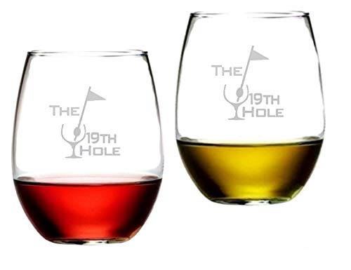 19th Hole Golf Stemless Wine Glasses Etched Engraved Perfect Fun Handmade Decorated Gifts for Everyone Set of 2, 16 Oz