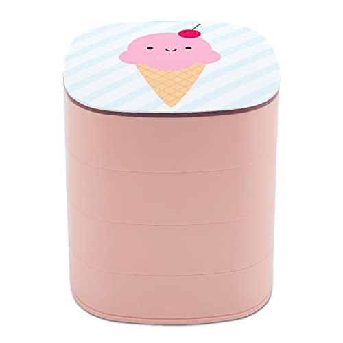 Rotar la caja de joyería, caja de almacenamiento de joyas de 4 capas, rotación de 360 grados, caja creativa para anillos, pendientes, collar, broche, baratijas, cono de helado Kawaii