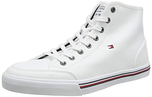 Tommy Hilfiger Herren CORE Corporate HIGH Textile SNK Sneaker, Weiß (White Ybs), 44 EU