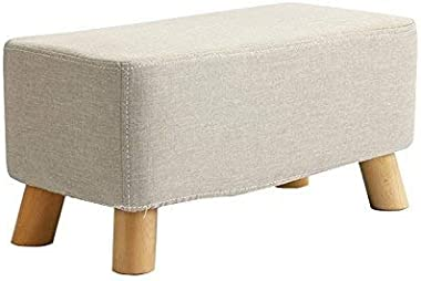 DJJSGSB Footstools & Ottomans Foot Stool Change Shoe Stool Upholstered Footrest Wooden Ottoman Dust-proof Stand Chair Ben