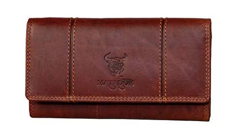 MATADOR Damen Geldbörse Echt Leder Portemonnaie für Frauen Langbörse RFID & NFC Schutz (Vinatge Braun)