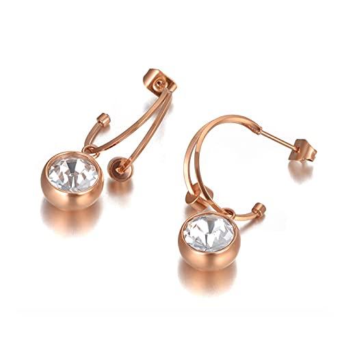 Pendientes de doble cristal de acero inoxidable de titanio a la moda, pendientes creativos de oro rosa para mujeres y niñas