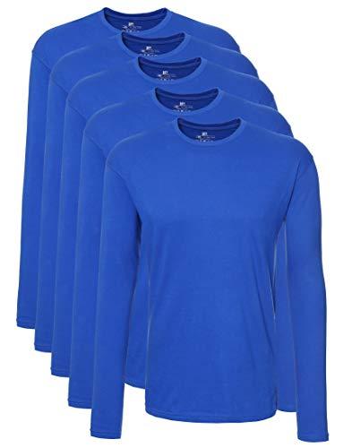 Lower East Camiseta de manga larga Hombre, Pack de 5, Azul claro, XL