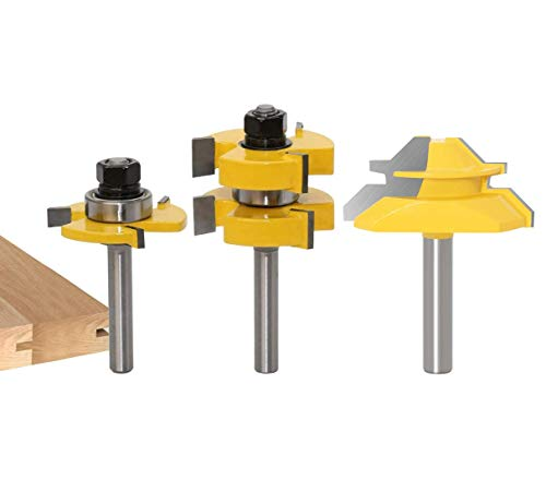Broca de Fresadora 8mm, APlus 2x Juego de lengüetas y ranuras + 1x Fresa para 45 grados, 3 Pcs Fresa de madera para máquina de grabado