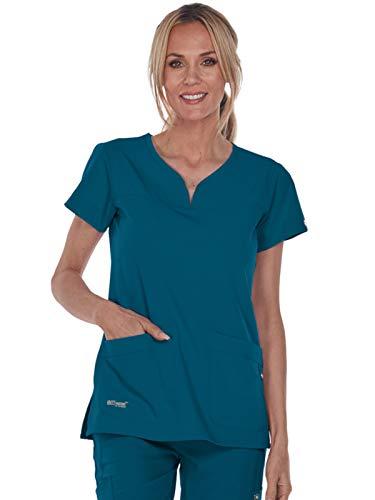 Grey's Anatomy Signature Women's Two Pocket Notch Yoke Neck Scrub Top, Bahama Blue, Large