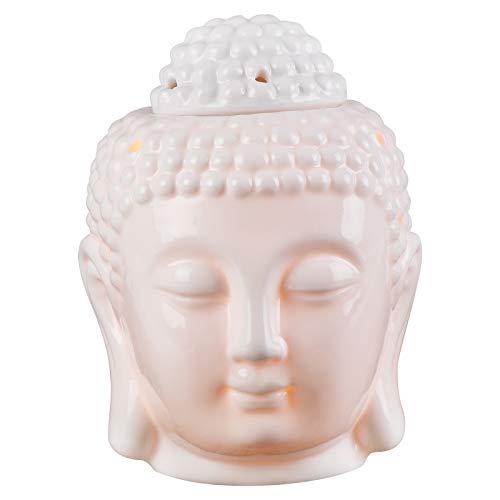 Statue de tête de Bouddha diffuseurs daromathérapie en céramique brûleur de Bougie à Huile de Four brûleurs de Fonte de Cire avec cuillère à Bougie Chauffe-Plat pour la décoration intérieure (Blanc)