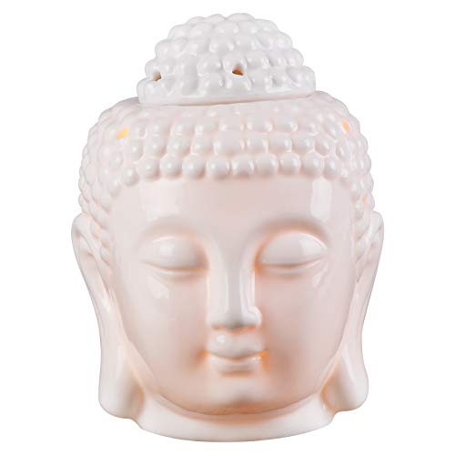 Testa di Buddha Statua in ceramica Diffusori di aromaterapia Fornace Bruciatore a candela Bruciatore a cera Bruciatori con cucchiaio a luce per meditazione Yoga Decorazioni per la casa (Bianco)