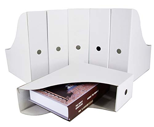 HUAPRINT White Magazine Holder(6 Pack) Cardboard Magazine File Holder-Folder Holder,Magazine Organizer,Document Organizer,Magazine Storage Box,with Labels
