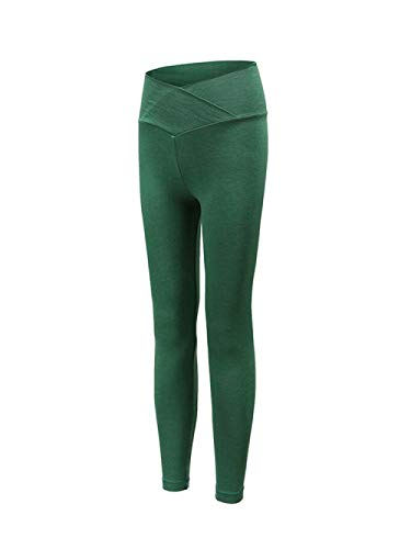 BLACK ELL Leggings para Running Training,Leggings Yoga de Gran Elásticos,Pantalones de Fitness de Secado rápido, Leggings elásticos de Cintura Alta-Green_M