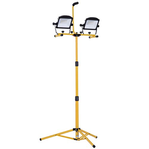 HOMCOM 10,000 Lumen Dual Head LED Work Lights Weather Resistant with Telescoping Adjustable Tripod Stand, Rotating Lamps