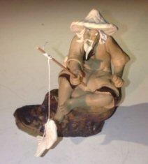 Bonsai Boy's Ceramic Figurine Mud Man Sitting On A Rock Fishing Large