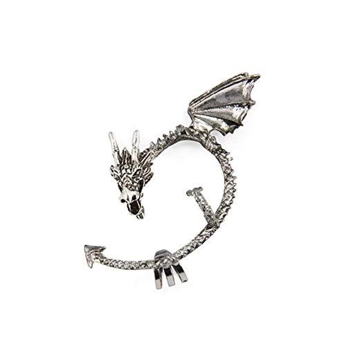 Gcroet Juego de Tronos oído del dragón del Manguito del Abrigo Pendiente Metal de la Vendimia gótica del Punk Pendientes Estilo -Antique Clip del oído (Plata) 1pc