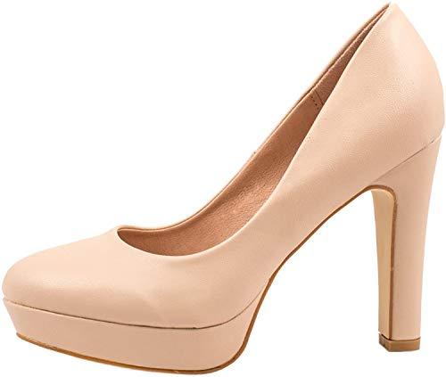 Elara Jumex Damen High Heels Schuhe Plateau Pumps Chunkyrayan P E22321-Beige-39