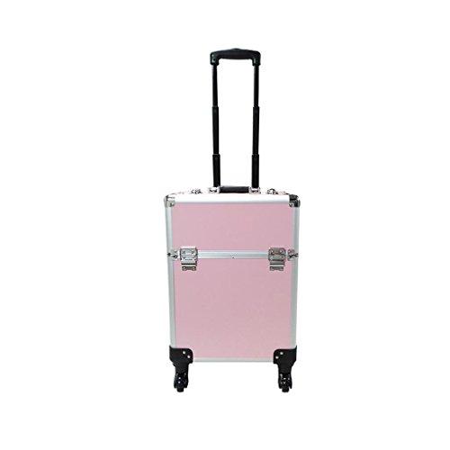 Ali@ Maquillage Trolley Case, 2 dans 1 étui de voyage de maquillage de roulage, beauté composent le sac, organisateur cosmétique sur des roues (noir, rose rouge, rose) (Couleur : Pink)
