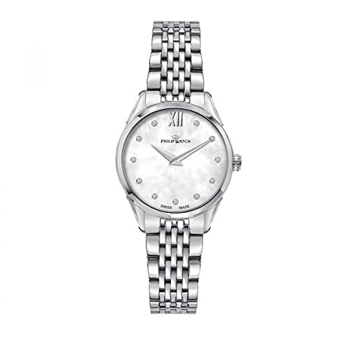 Philip Watch Reloj Mujer, Colección Roma, de Acero Inoxidable, Diamantes - R8253217501