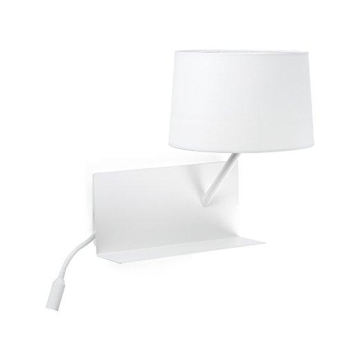 Faro Barcelona 28414 - HANDY Lampe applique blanche avec lecteur LED droite