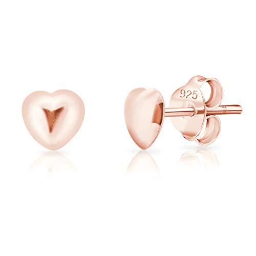 DTPsilver® KLEINE Ohrringe 925 Sterling Silber Rosen-Gold überzogen - Herz Ohrstecker - Durchmesser: 5 mm