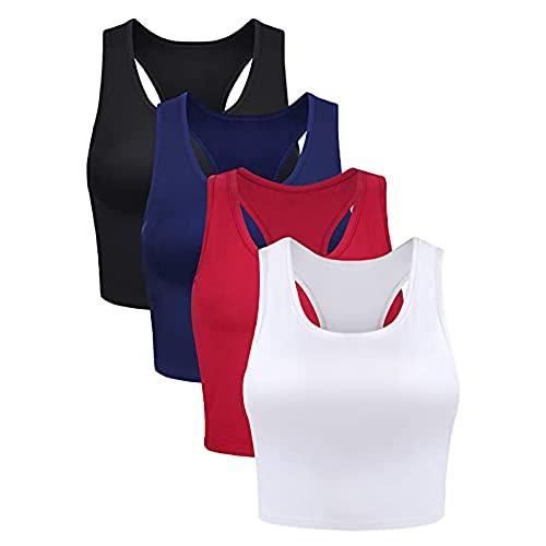 2021 Nuevo 4pcs Camisetas sin Mangas Corto Mujer,Verano Diario Talla Grande Camisetas de Tirantes Casual Color sólido Supersoft Yoga Deporte Gym Top Chaleco Chandal Camisas Camiseta básica tee