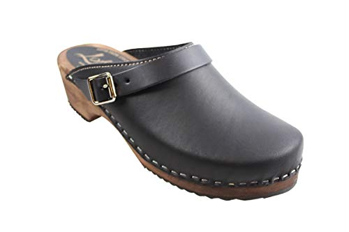 Lotta From Stockholm Swedish Classic Clog with Strap in Black with Brown Sole-38