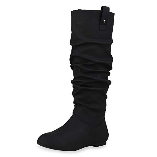 SCARPE VITA Damen Schlupfstiefel Warm Gefütterte Stiefel Nieten Wildleder-Optik Schuhe Flache Slouch Boots 152410 Schwarz 38