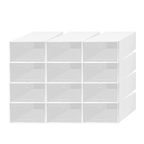 12 Pack Shoe Storage Boxes, TWSOUL Stackable Soft Clear Plastic Shoes Organizers with hard abs front frame, Space Saving Foldable Shoe Containers
