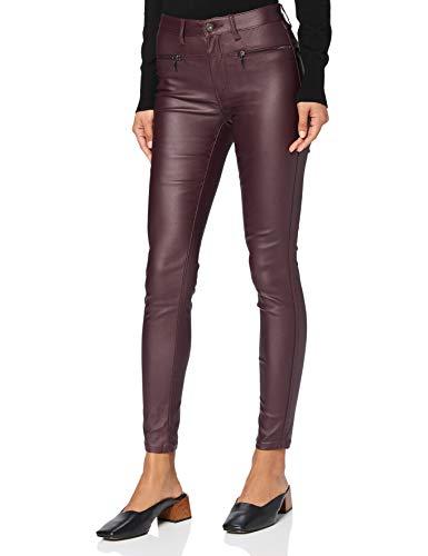Amazon-Marke: find. Damen Skinny Fit-Hose mit Ledereffekt, Rot (Cranberry), 38, Label: M
